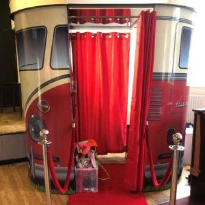 Red VW Camper Booth